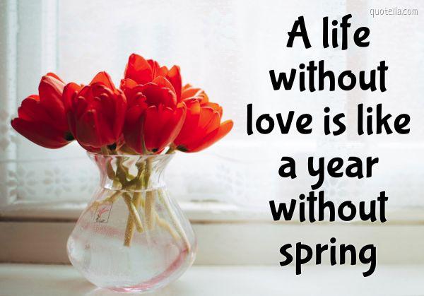 A life without love is like a year without spring.