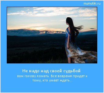 Не надо над своей судьбой вам голову ломать. Все вовремя придет к тому, кто умеет ждать... #мотиватор