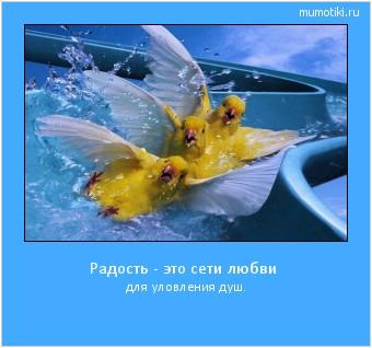 Радость - это сети любви для уловления душ. #мотиватор