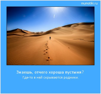 Знаешь, отчего хороша пустыня? Где-то в ней скрываются родники. #мотиватор