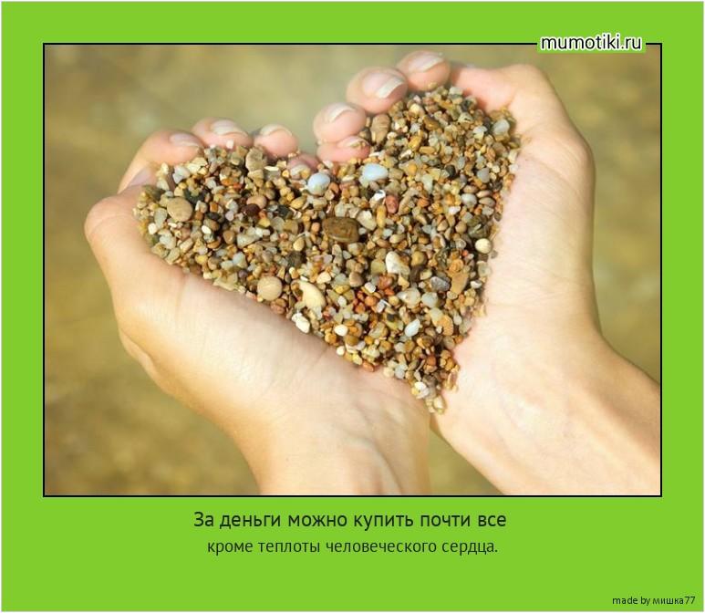 За деньги можно купить почти все кроме теплоты человеческого сердца. #мотиватор