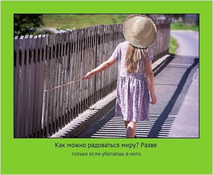 Как можно радоваться миру? Разве только если убегаешь в него. #мотиватор
