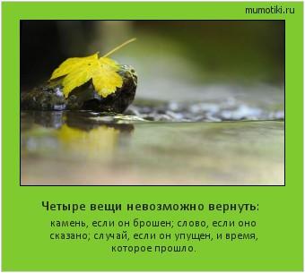 Четыре вещи невозможно вернуть: камень, если он брошен; слово, если оно сказано; случай, если он упущен, и время, которое прошло. #мотиватор