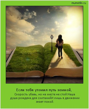 Если тебя утомил путь земной, Скорость убавь, но на месте не стой: Наша душа рождена для скитаний И лишь в движении знает покой. #мотиватор