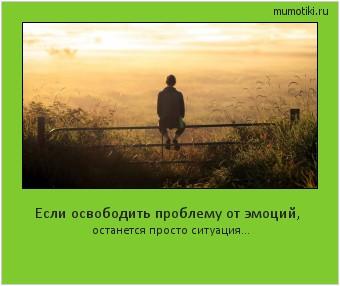 Если освободить проблему от эмоций, останется просто ситуация… #мотиватор