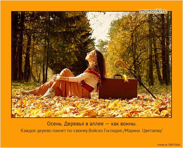 Осень. Деревья в аллее — как воины. Каждое дерево пахнет по-своему.Войско Господне./Марина Цветаева/ #мотиватор