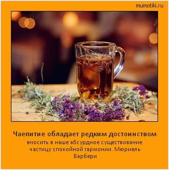 Чаепитие обладает редким достоинством вносить в наше абсурдное существование частицу спокойной гармонии. Мюриель Барбери #мотиватор