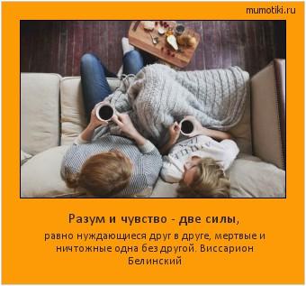 Разум и чувство - две силы, равно нуждающиеся друг в друге, мертвые и ничтожные одна без другой. Виссарион Белинский #мотиватор