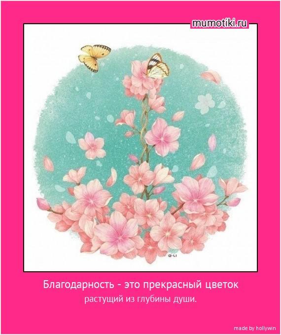 Благодарность - это прекрасный цветок растущий из глубины души. #мотиватор