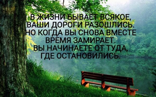 В ЖИЗНИ БЫВАЕТ ВСЯКОЕ, ВАШИ ДОРОГИ РАЗОШЛИСЬ. НО КОГДА ВЫ СНОВА ВМЕСТЕ ВРЕМЯ ЗАМИРАЕТ. ВЫ НАЧИНАЕТЕ ОТТУДА, ГДЕ ОСТАНОВИЛИСЬ. #цитата