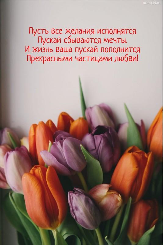 Пусть все желания исполнятся Пускай сбываются мечты. И жизнь ваша пускай пополнится Прекрасными частицами любви! #цитата