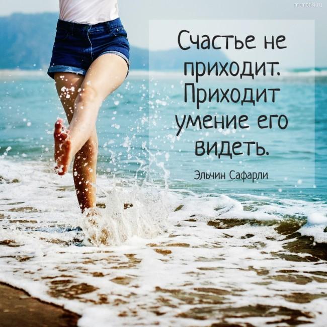 Счастье не приходит. Приходит умение его видеть. Эльчин Сафарли #цитата