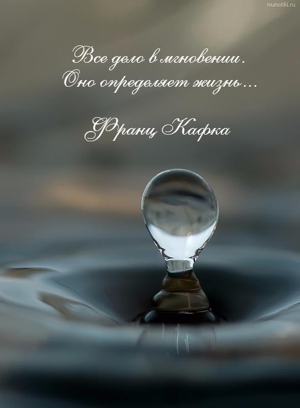 Все дело в мгновении. Оно определяет жизнь... Франц Кафка #цитата