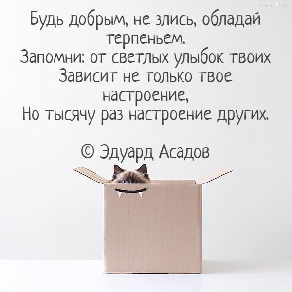 Будь добрым, не злись, обладай терпеньем.Запомни: от светлых улыбок твоихЗависит не только твое настроение,Но тысячу раз настроение других.© Эдуард Асадов #цитата