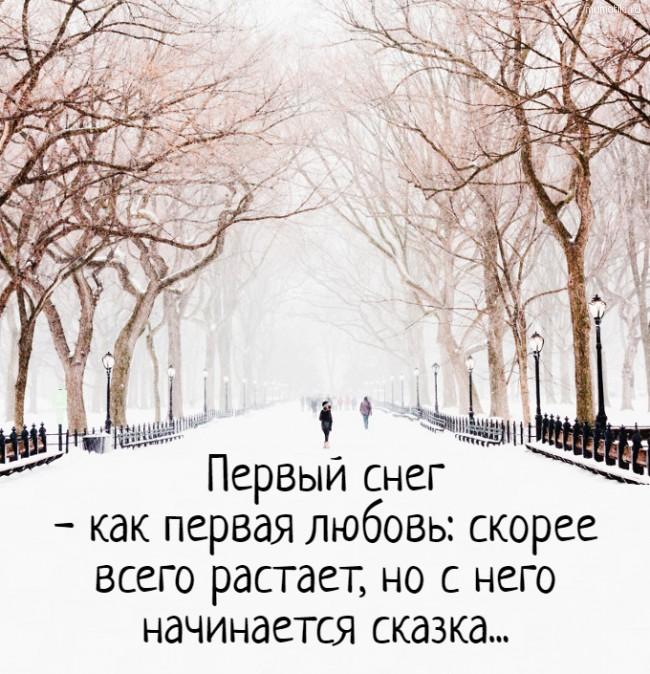 Первый снег - как первая любовь: скорее всего растает, но с него начинается сказка... #цитата