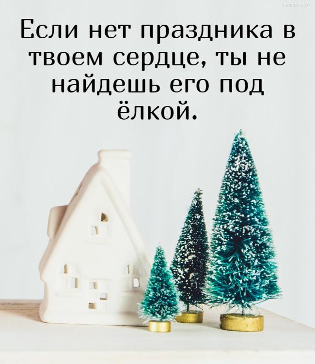 Если нет праздника в твоем сердце, ты не найдешь его под ёлкой. #цитата