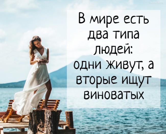 В мире есть два типа людей: одни живут, а вторые ищут виноватых #цитата