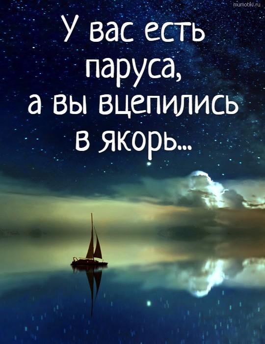 У вас есть паруса, а вы вцепились в якорь... #цитата