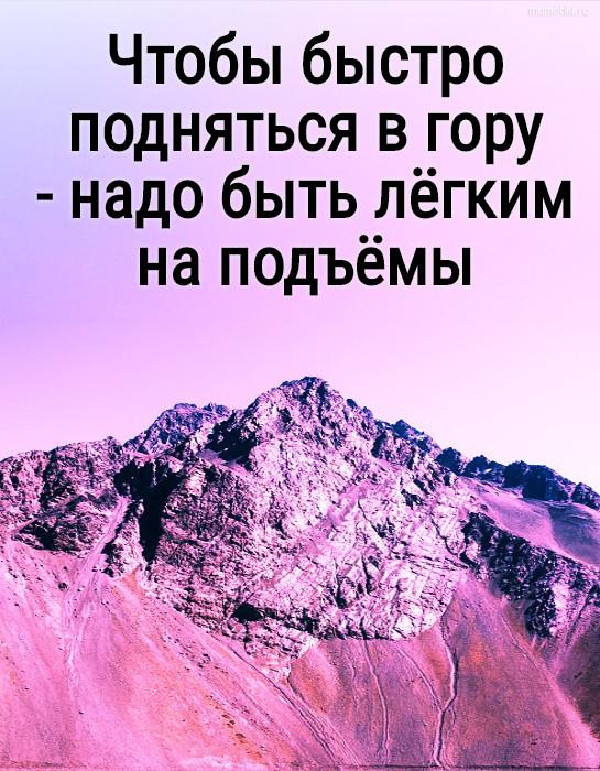 Чтобы быстро подняться в гору - надо быть лёгким на подъёмы #цитата
