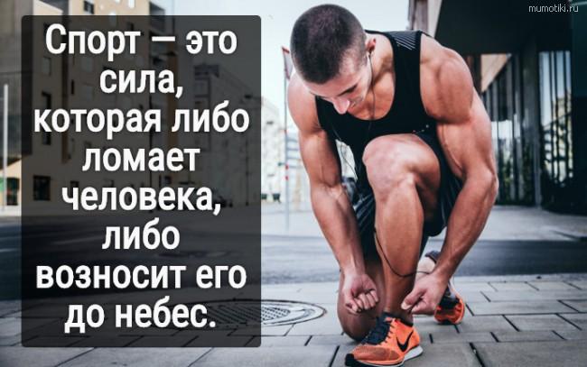 Спорт — это сила, которая либо ломает человека, либо возносит его до небес. #цитата