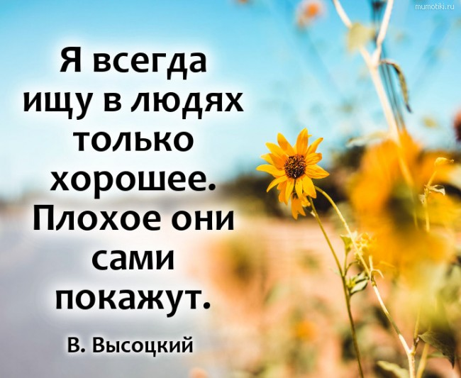 Я всегда ищу в людях только хорошее. Плохое они сами покажут. #цитата