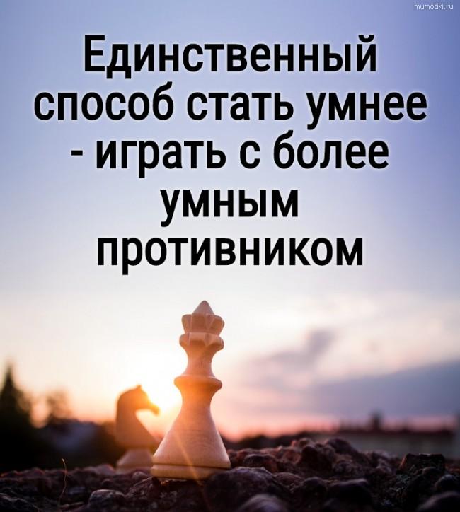 Единственный способ стать умнее - играть с более умным противником #цитата