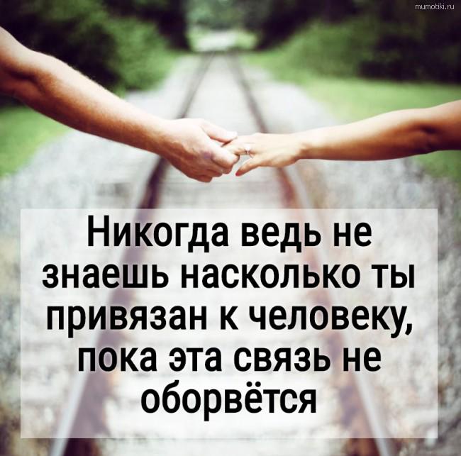 Никогда ведь не знаешь насколько ты привязан к человеку, пока эта связь не оборвётся #цитата