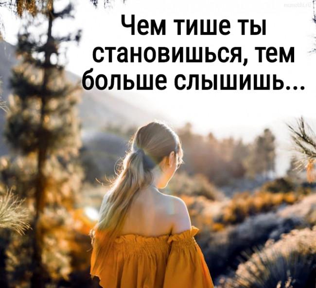 Чем тише ты становишься, тем больше слышишь... #цитата