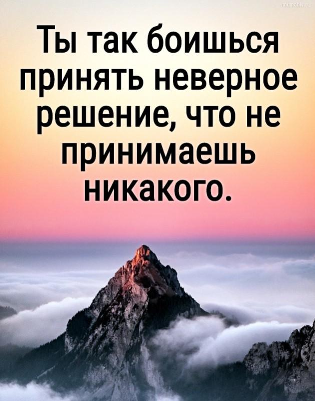 Ты так боишься принять неверное решение, что не принимаешь никакого. #цитата