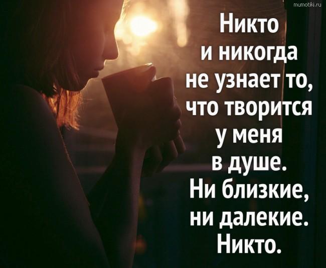 Никто и никогда не узнает то, что творится у меня в душе. Ни близкие, ни далекие. Никто. #цитата