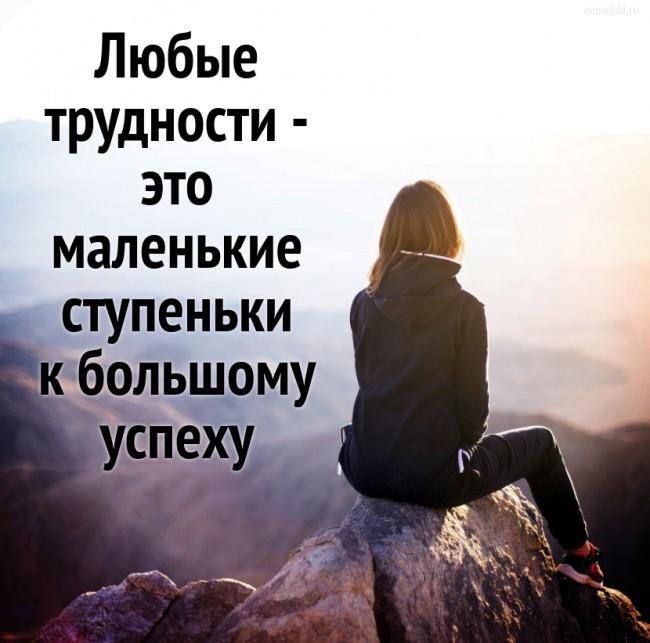Любые трудности - это маленькие ступеньки к большому успеху. #цитата