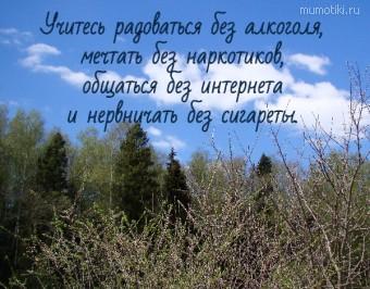 Учитесь радоваться без алкоголя, мечтать без наркотиков, общаться без интернета и нервничать без сигареты. #цитаты