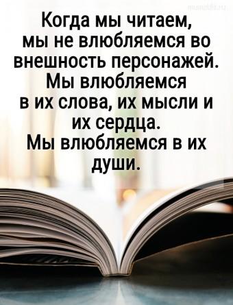 Когда мы читаем, мы не влюбляемся во внешность персонажей. Мы влюбляемся в их слова, их мысли и их сердца. Мы влюбляемся в их души. #цитаты