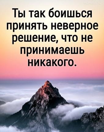 Ты так боишься принять неверное решение, что не принимаешь никакого. #цитаты