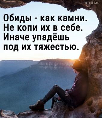 Обиды - как камни. Не копи их в себе. Иначе упадёшь под их тяжестью. #цитаты