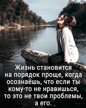 Жизнь становитсяна порядок проще, когда осознаёшь, что если ты кому-то не нравишься,то это не твои проблемы, а его. #цитаты