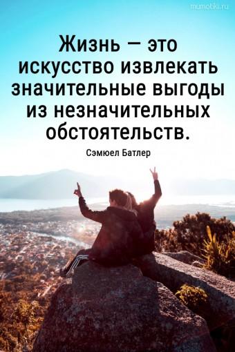 Жизнь — это искусство извлекать значительные выгоды из незначительных обстоятельств. #цитаты