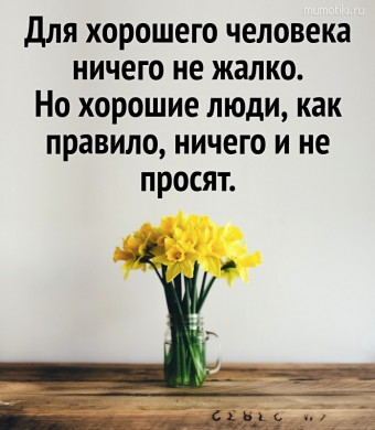 Для хорошего человека ничего не жалко. Но хорошие люди, как правило, ничего и не просят. #цитаты