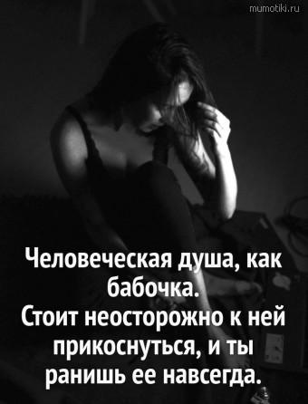 Человеческая душа, как бабочка. Стоит неосторожно к ней прикоснуться, и ты ранишь ее навсегда. #цитаты