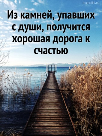 Из камней, упавших с души, получится хорошая дорога к счастью. #цитаты