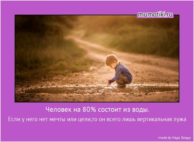 Человек на 80% состоит из воды. Если у него нет мечты или цели,то он всего лишь вертикальная лужа #мотиватор