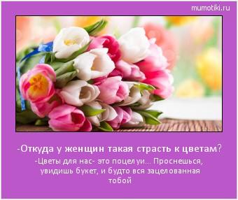 -Откуда у женщин такая страсть к цветам? -Цветы для нас- это поцелуи... Проснешься, увидишь букет, и будто вся зацелованная тобой #мотиватор