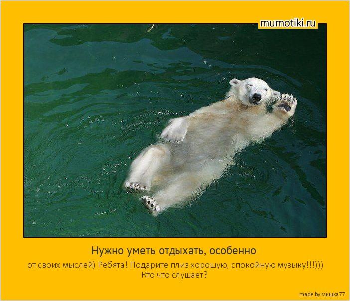 Нужно уметь отдыхать, особенно от своих мыслей) Ребята! Подарите плиз хорошую, спокойную музыку!!!))) Кто что слушает? #мотиватор