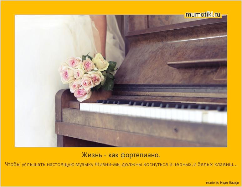 Жизнь - как фортепиано. Чтобы услышать настоящую музыку Жизни-мы должны коснуться и черных,и белых клавиш... #мотиватор