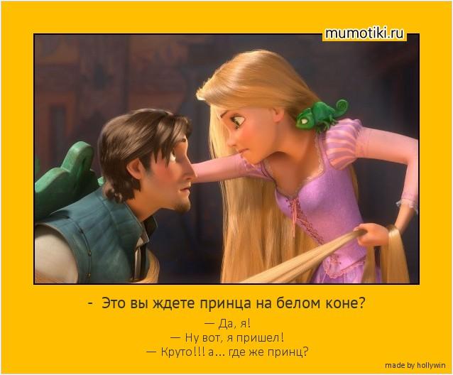 - Это вы ждете принца на белом коне? — Да, я! — Ну вот, я пришел! — Круто!!! а... где же принц? #мотиватор