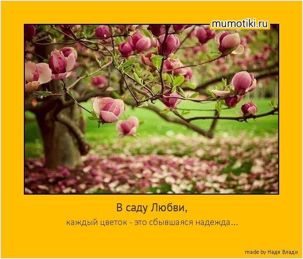 В саду Любви, каждый цветок - это сбывшаяся надежда... #мотиватор