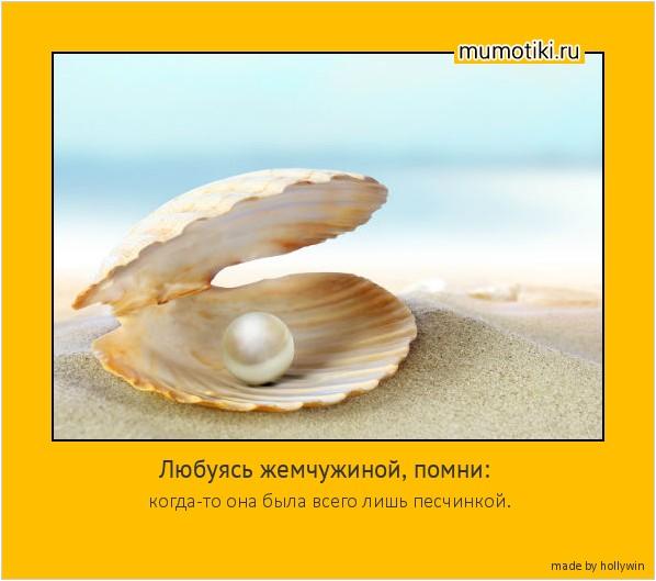 Любуясь жемчужиной, помни: когда-то она была всего лишь песчинкой. #мотиватор
