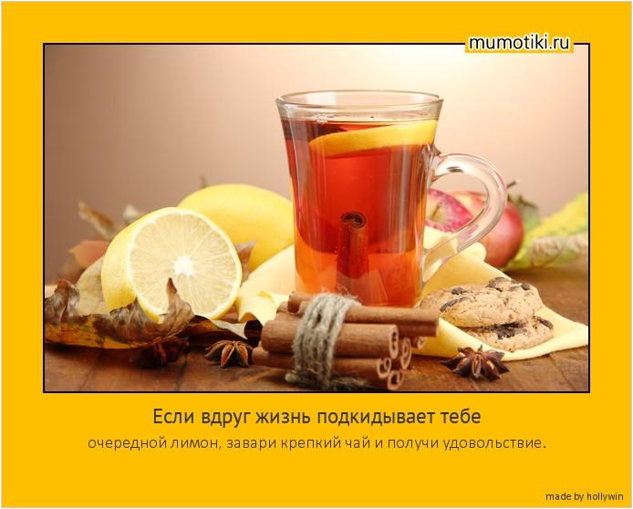 Если вдруг жизнь подкидывает тебе очередной лимон, завари крепкий чай и получи удовольствие. #мотиватор
