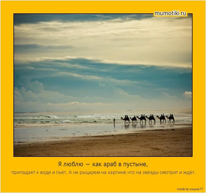 Я люблю — как араб впустыне, припадает кводе ипьёт. Ане рыцарем на картине,что на звёзды смотрит иждёт. #мотиватор
