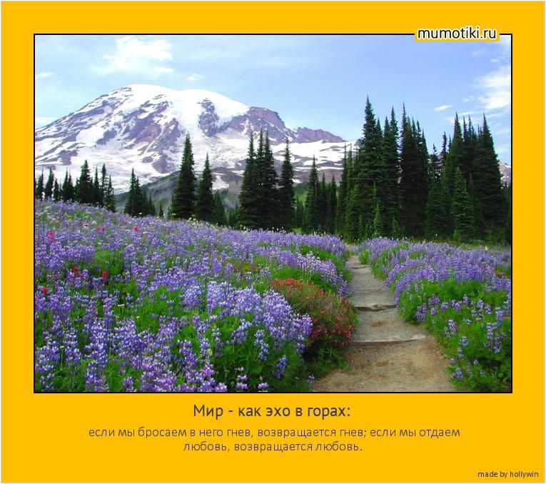 Мир - как эхо в горах: если мы бросаем в него гнев, возвращается гнев; если мы отдаем любовь, возвращается любовь. #мотиватор
